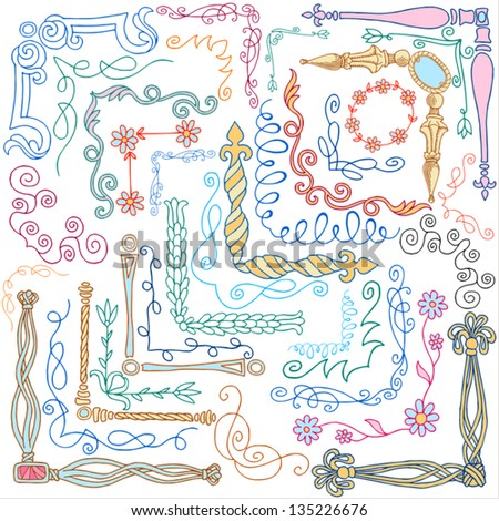 Vintage style doodles, ornaments, corners, calligraphic design elements and cute decorations, retro style drawing set, decor, color, creative floral old patterns template for design, page decoration - stock vector