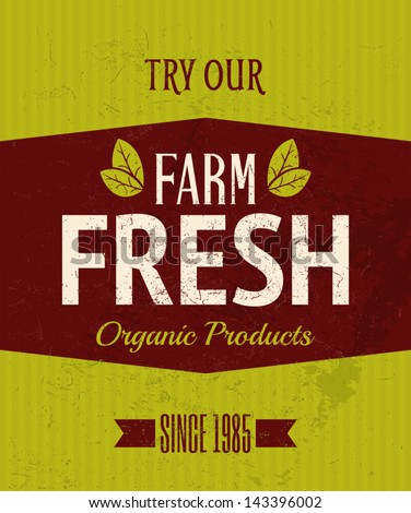 Vintage style farm fresh products poster. - stock vector