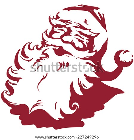 Vintage style Father Christmas / Santa Claus single colour mono vector flat colour  illustration Xmas card. Fully adjustable and scalable. - stock vector