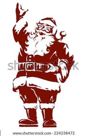 Vintage style Father Christmas / Santa Claus vector illustration, fully adjustable and scalable. - stock vector