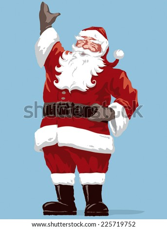 Vintage style Father Christmas / Santa Claus vector illustration, with Merry Christmas script calligraphic type. Fully adjustable and scalable. - stock vector