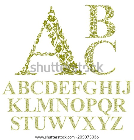 Vintage style floral letters font, vector alphabet. - stock vector
