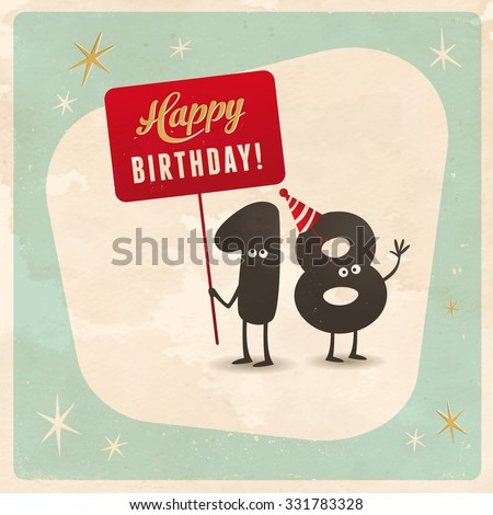 Vintage Style Funny 18th Birthday Card Stock Vector 331783328