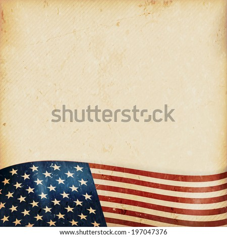 Vintage style grunge background with USA flag at the bottom. Grunge Elements and a faintly striped beige brown background give it a feeling resembling old paper, parchment. - stock vector