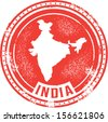 Vintage Style India Country Stamp - stock vector