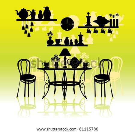 Vintage style kitchen with utensils silhouette vector