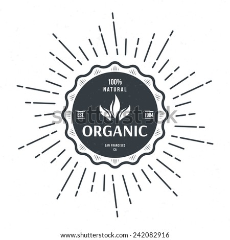 vintage style label for organic food and drink vector illustration - stock vector