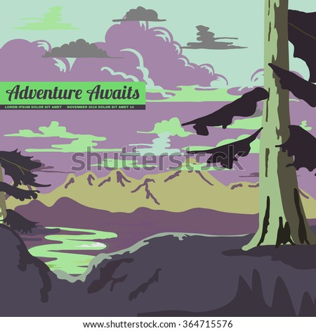 Vintage Style Landscape Background Vector Illustration