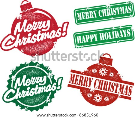 Vintage Style Merry Christmas Stamps - stock vector