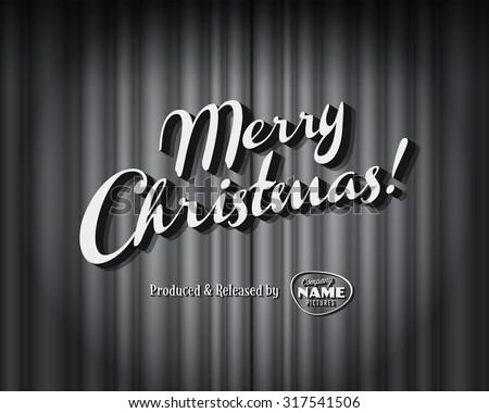 Vintage style movie still - Merry Christmas - Editable Vector EPS10 - stock vector