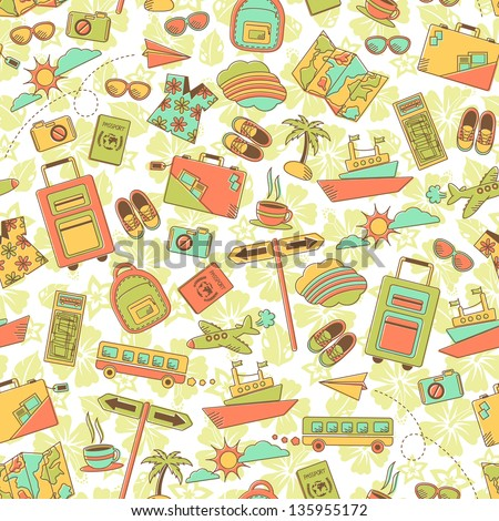 vintage style pattern with travel symbols (JPEG available in my gallery) - stock vector