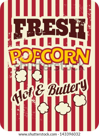 Vintage style poster with popcorn. - stock vector