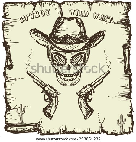 Vintage style poster with  skull, revolvers and text. Hand drawing, vector. - stock vector