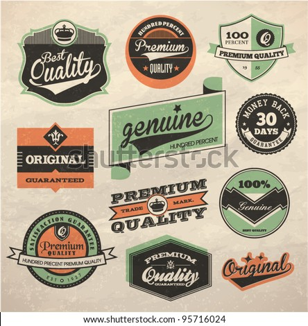 Vintage Style Premium and High Quality Label - stock vector