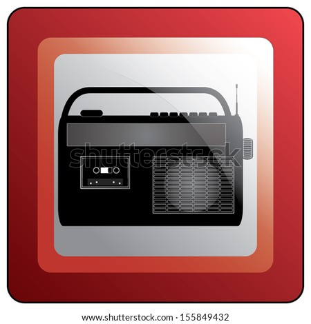 Vintage style radio icon on red rectangle button. Abstract easy to edit vector illustration.