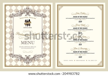 Vintage style restaurant menu design - stock vector