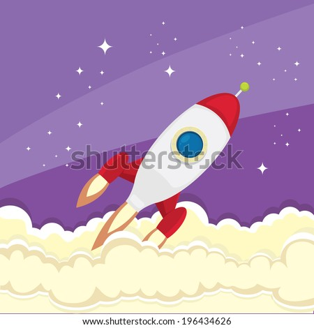 vintage style retro poster of Space rocket in space. vector illustration