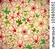 Vintage style seamless background with flowers and leaves, perfect vector wallpaper or web background pattern. - stock vector