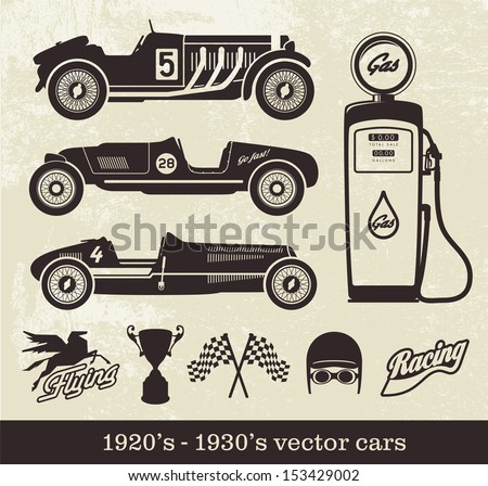 Vintage style sport cars - stock vector