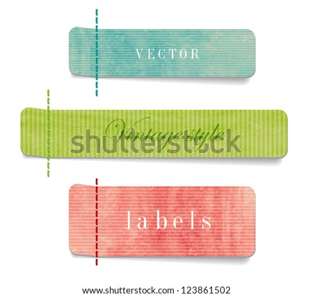 Vintage style textured colored paper cardboard labels - stock vector