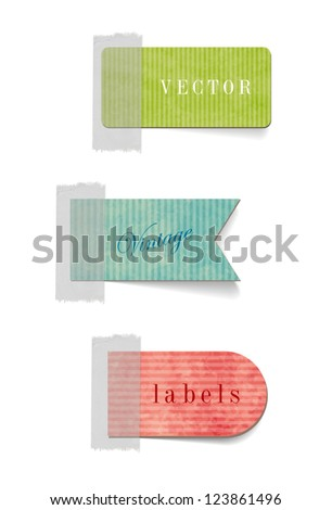 Vintage style textured colored paper cardboard tags - stock vector