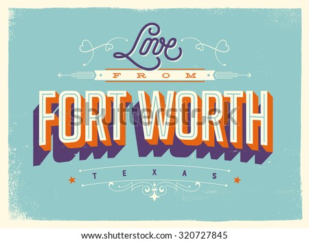 Vintage style touristic greeting card texture stock vector 320727845 vintage style touristic greeting card with texture effects love from fort worth texas m4hsunfo