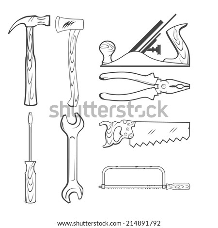 Vintage Style Vector Saw, Hammer, Wrench and other Hand Tools for Construction - stock vector