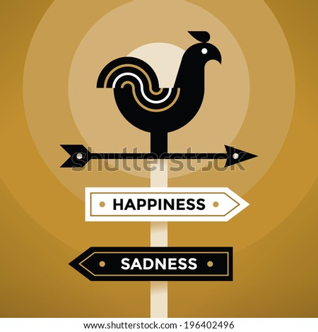 Vintage style weather vane with Happiness and Sadness arrow signs. Idea - Feeling and Emotions, Depression and Antidepressants. - stock vector