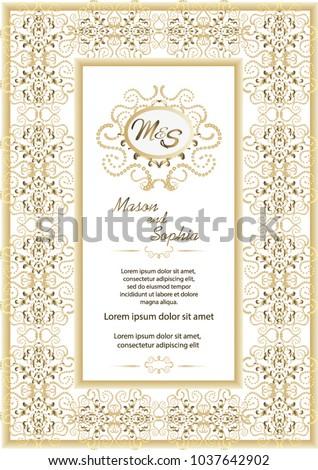 Vintage style wedding invitation card template stock photo photo vintage style wedding invitation card template elegant formal design background decoration for wedding stopboris Choice Image