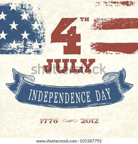 Vintage styled card for Fourth July Celebration. Vector, EPS10 - stock vector