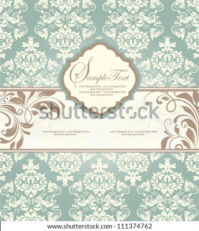Vintage styled card with floral ornament background - stock vector