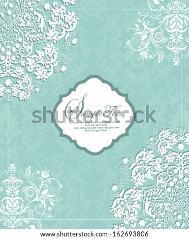 Vintage styled card with floral ornament background
