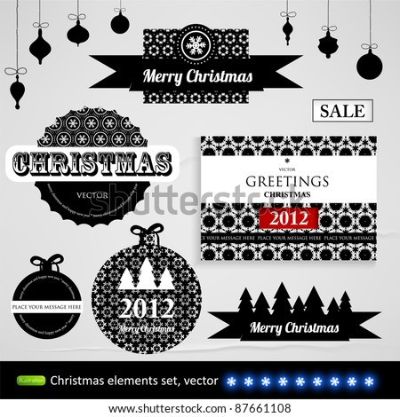 Vintage Styled Christmas Label and templates collection with paper texture elements and seamless ornaments for holiday design - stock vector