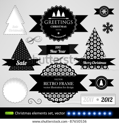 Vintage Styled Christmas Label collection with paper texture elements for design - stock vector