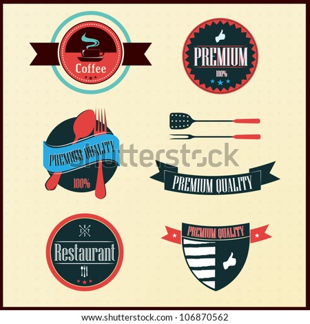Vintage Styled Label collection design, restaurant labels - stock vector