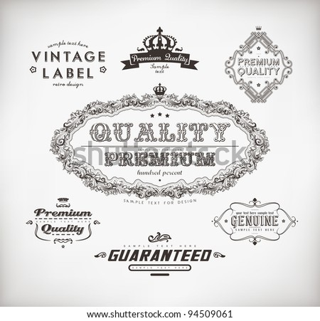 Vintage Styled Label collection for retro design - stock vector