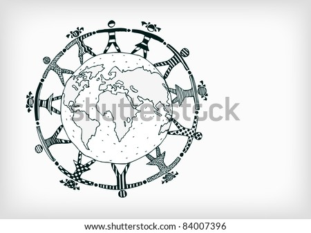 Vintage Styled Planet with Boys and Girls - stock vector