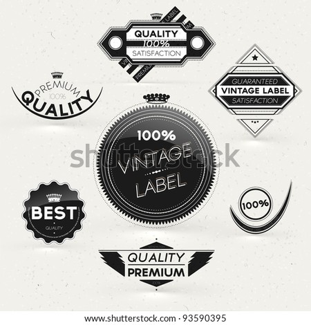 Vintage Styled Premium Quality and Satisfaction Guarantee Label and frames collection with black grungy and glossy design.