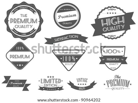 Vintage Styled Premium Quality and Satisfaction Guarantee Labels - stock vector