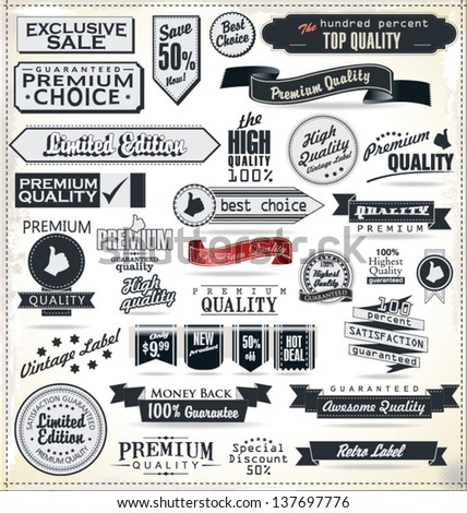 Vintage Styled Premium Quality Label collection - stock vector