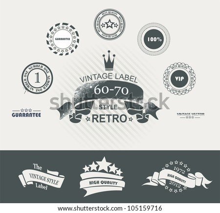 Vintage Styled Premium Quality Labels and Ribbons collection with black grungy design. - stock vector