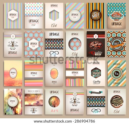 Vintage Styles brochure templates set with Labels. Vintage background to use as frames for advertising. Old dated look.Retro Patterns for Placards, Posters, Flyers and Banner Designs - stock vector