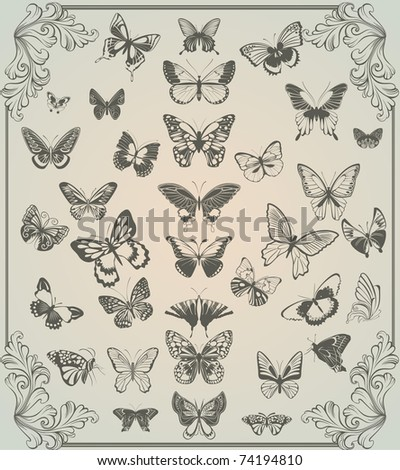 vintage stylized set of butterflies - stock vector