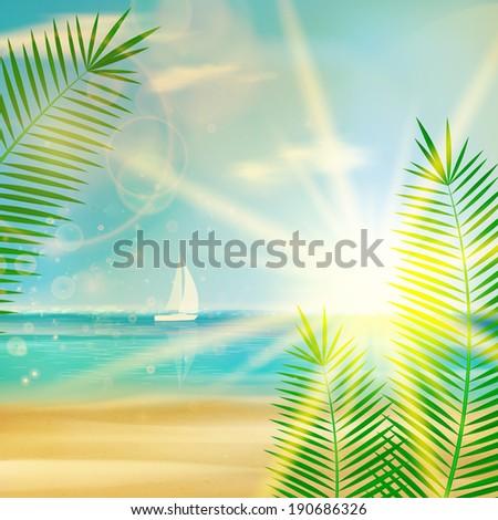 Vintage summer beach design. EPS10 - stock vector