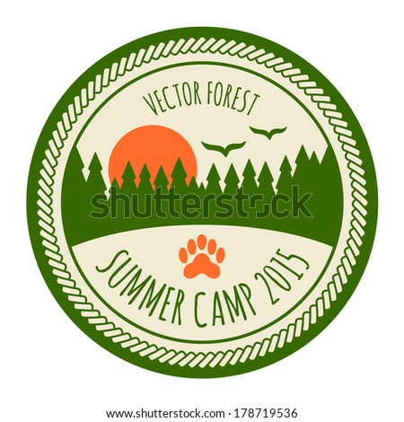 Vintage summer camp sticker badge emblem - stock vector