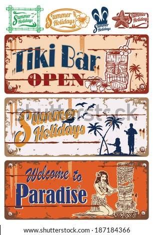 Vintage summer holidays signs - stock vector