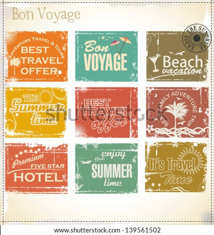 Vintage summer labels - stock vector