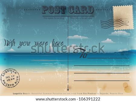 Vintage summer postcard. Vector illustration. - stock vector
