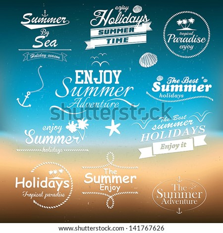 Vintage summer typography design with labels - stock vector