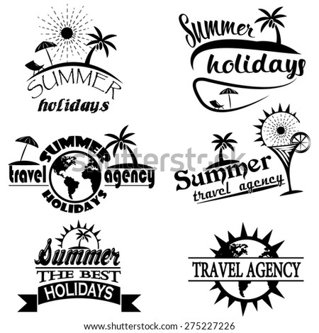 Vintage summer typography design with labels, icons elements collection - stock vector